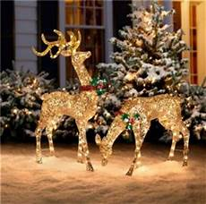 Lit Outdoor Decorations by 3pc Outdoor Lighted Pre Lit Gold Reindeer Deer Sleigh
