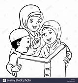 Cartoon Muslim Mother With Son And Daughter Read Book