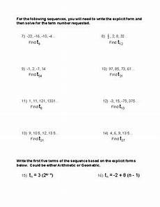 form of arithmetic and geometric sequences worksheet tpt