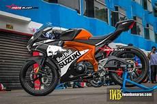 Gsx R150 Modif Moge by Modifikasi Striping Suzuki Gsx R150 Black Redbull Black