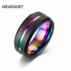 meaeguet black brushed tungsten carbide wedding ring for