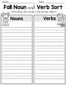 fall noun and verb sort parts of speech worksheets by the kinder kids