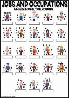 and occupations unscramble interactive worksheet