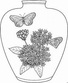 Ausmalbilder Blumen Schmetterlinge Vase Schmetterlinge Blumen Ausmalbild Malvorlage Blumen