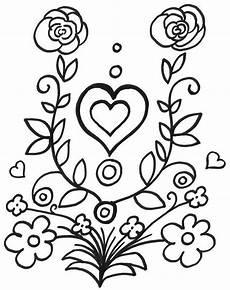 Ausmalbild Blumen Herz Ausmalbild Muttertag Blumen Und Herz Kostenlos Ausdrucken