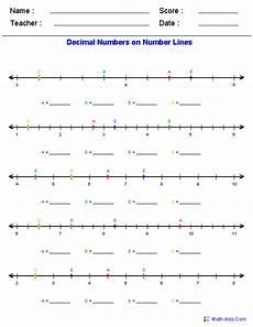 worksheet decimal number line 7222 decimals worksheets dynamically created decimal worksheets