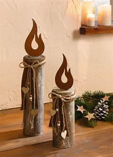 Weihnachtsdeko Aus Holz Selber Basteln - holz s 228 ule kerze 2 er set deko s 228 ule weihnachtsdeko holz
