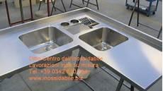 lavelli inox su misura top cucina inox satinato su misura con lavelli e grigle