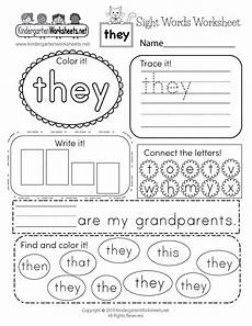 sight word they worksheet free kindergarten english worksheet for kids