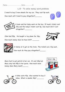 year 1 money word problems transport theme by