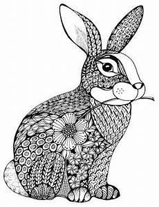 Ausmalbilder Hasen Im Stall Der Pl 252 Schige Hase Im Tangle Design Und Dazu Der