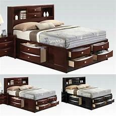 Kopfteil Bett Mit Ablage - ireland black espresso bed multi drawers storage