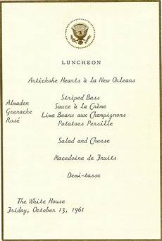 Cottage Dinner Menu by Oct 13 1961 Www Pinkpillbox Jackie Kennedy S