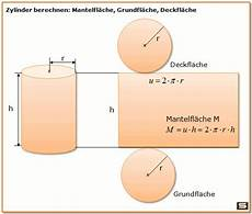 zylinder berechnen zylinder volumen oberfl 228 che