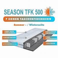 7 zonen taschenfederkernmatratze 7 zonen taschenfederkernmatratze season tfk h2 140x200