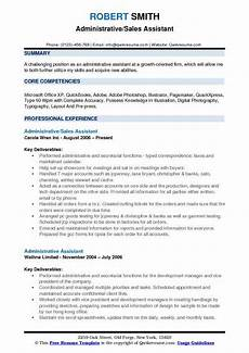administrative sales assistant resume sles qwikresume