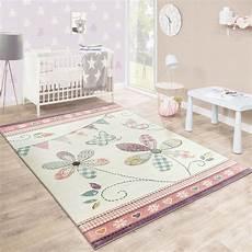babyzimmer teppich kinderteppich blumig pastell creme teppich kinderzimmer