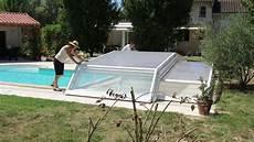 abris de piscine bas ouverture d un abri de piscine bas t 233 lescopique venus