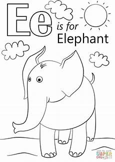 letter e is for elephant super coloring abc coloring