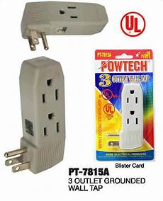 triple outlet grounded electric wall 3 way tap power adapter ul listed pt 7815a ebay