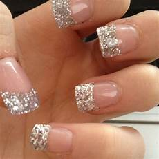 glittery french tip acrylics silver tip nails french