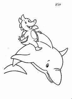 tabaluga reitet einen delphin ausmalbild malvorlage