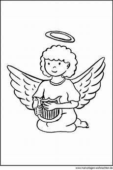 Malvorlagen Kleine Engel Engel Mit Harfe Gratis Ausmalbild