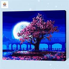 frameless digital painting by number moonlight pink tree