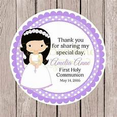 printable first holy communion favor tags in lavender print your own personalized