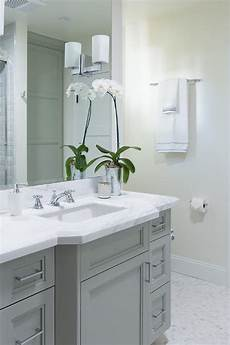 Grey And White Bathroom Ideas Gray Bathroom Vanity With White Marble Countertop