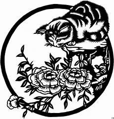 japanische katze jagt ausmalbild malvorlage blumen