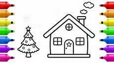 how to draw santa house tree and house