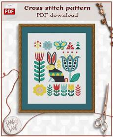 folk rabbit cross stitch pdf etsy cross stitch