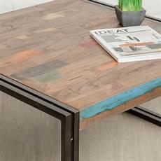 Table Basse Carr 233 En Teck Industriel Quot Loft Quot 80cm Naturel