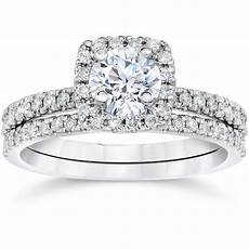 5 8ct cushion halo real diamond engagement wedding ring white gold