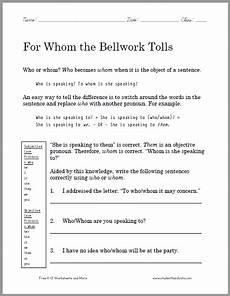 grammar worksheets who or whom answers 25035 free printable grammar worksheet for grades 4 12 scroll to print pdf sub folder