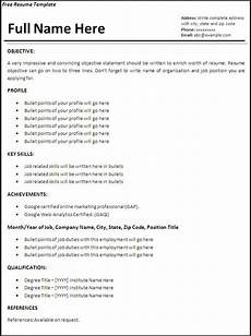 resume templates 6 free printable ms word formats