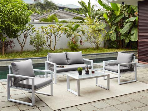 Divano, 2 Poltrone Giardino, Tavolino In Alluminio Kiribati