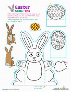 easter bunny stand ups coloring page education