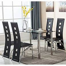 Walmart Kitchen Furniture 5 Glass Dining Table Set 4 Leather Chairs Kitchen
