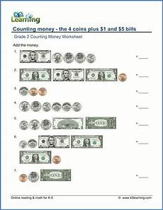 printable money worksheets for 5th grade 2737 grade 2 counting money worksheet on counting the 4 coins plus 1 and 5 bills money worksheets