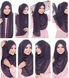 Cara Menggunakan Jilbab Segi Empat Syar I Voal Motif