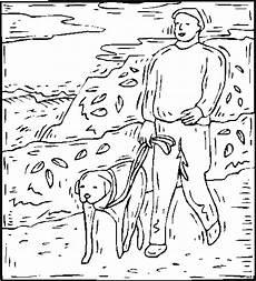 mensch mit hund an leine ausmalbild malvorlage tiere