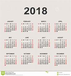 mini kalender 2018 calendar 2018 year vector design template stock vector