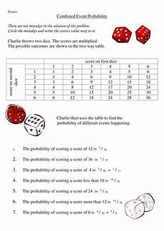 probability worksheets grade 6 with answers 6024 combined event probalility worksheet teaching resources