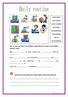 simple present tense daily routine english esl worksheets