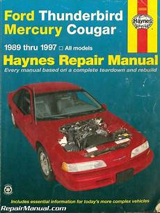 car repair manuals online free 1989 mercury cougar electronic toll collection used haynes ford thunderbird mercury cougar 1989 1997 auto repair manual