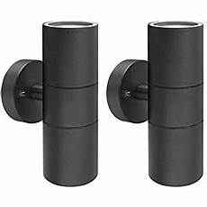 black pir stainless steel double outdoor wall light with movement sensor ip44 up down outdoor