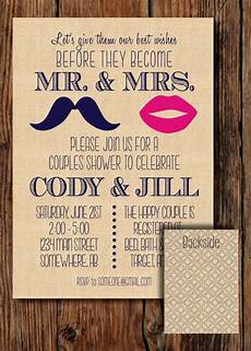 mustache couples wedding shower invitation digital download file diy printing only 15