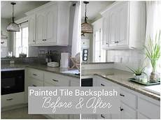 How To Paint Kitchen Tiles Before And After by I Painted Our Kitchen Tile Backsplash The Wicker House